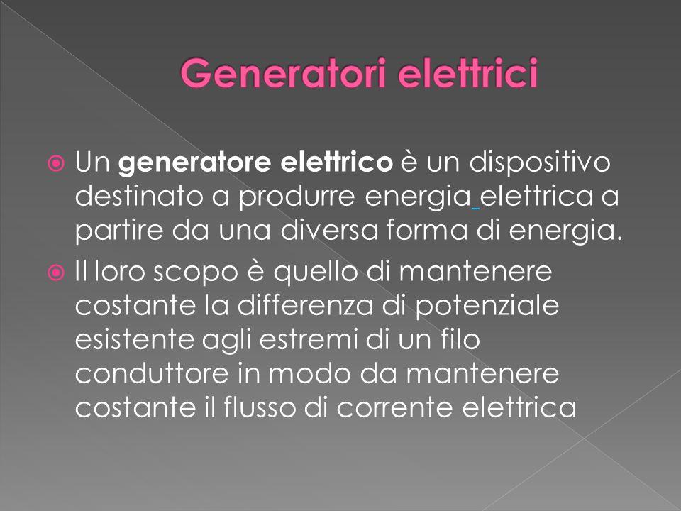  Un generatore elettrico è un dispositivo destinato a produrre energia elettrica a partire da una diversa forma di energia.