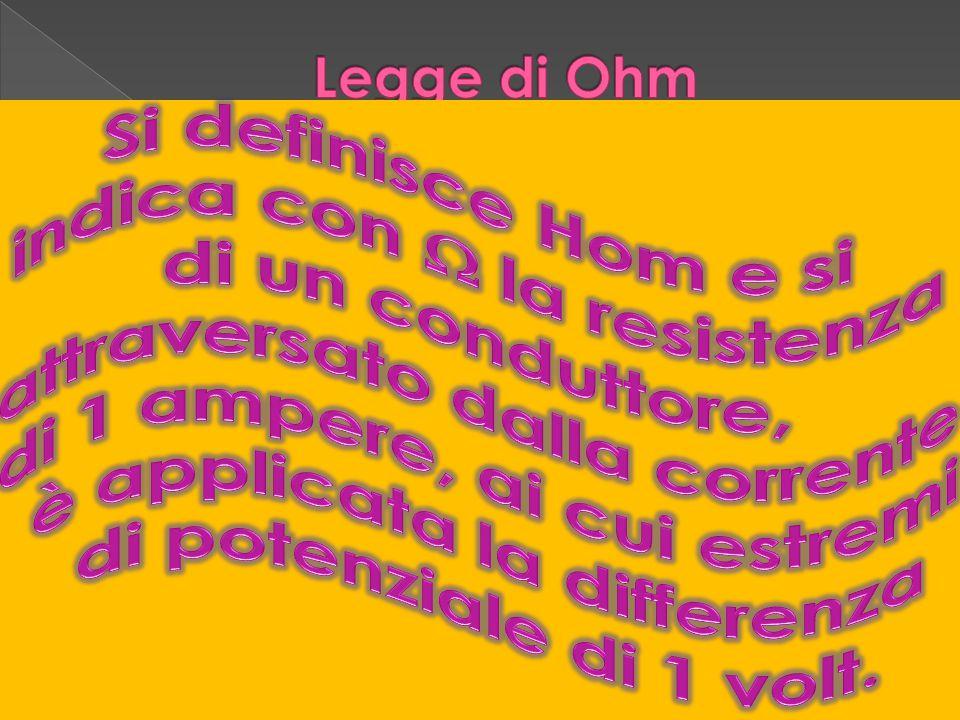 LLa legge di Ohm dice che In un conduttore metallico l intensità di corrente è direttamente proporzionale alla tensione applicata ai suoi capi e inversamente proporzionale alla resistenza del conduttore.
