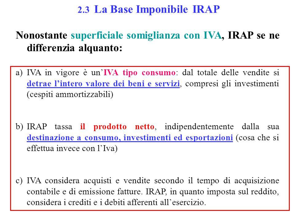 2.3 La Base Imponibile IRAP Nonostante superficiale somiglianza con IVA, IRAP se ne differenzia alquanto: a)IVA in vigore è un'IVA tipo consumo: dal totale delle vendite si detrae l'intero valore dei beni e servizi, compresi gli investimenti (cespiti ammortizzabili) b)IRAP tassa il prodotto netto, indipendentemente dalla sua destinazione a consumo, investimenti ed esportazioni (cosa che si effettua invece con l'Iva) c)IVA considera acquisti e vendite secondo il tempo di acquisizione contabile e di emissione fatture.