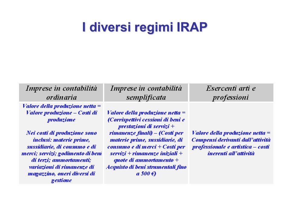 I diversi regimi IRAP