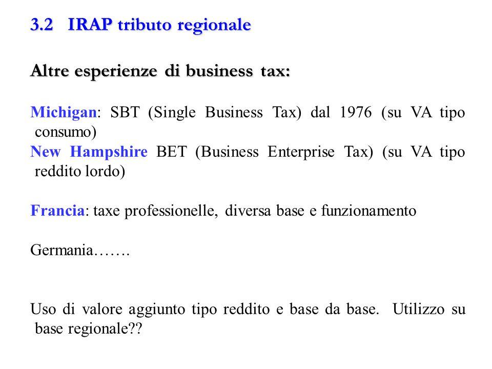 3.2 IRAP tributo regionale Altre esperienze di business tax: Michigan: SBT (Single Business Tax) dal 1976 (su VA tipo consumo) New Hampshire BET (Busi