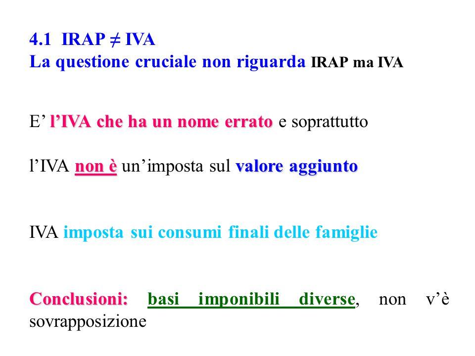 4.1 IRAP ≠ IVA La questione cruciale non riguarda IRAP ma IVA l'IVA che ha un nome errato E' l'IVA che ha un nome errato e soprattutto non èvalore aggiunto l'IVA non è un'imposta sul valore aggiunto IVA imposta sui consumi finali delle famiglie Conclusioni: Conclusioni: basi imponibili diverse, non v'è sovrapposizione
