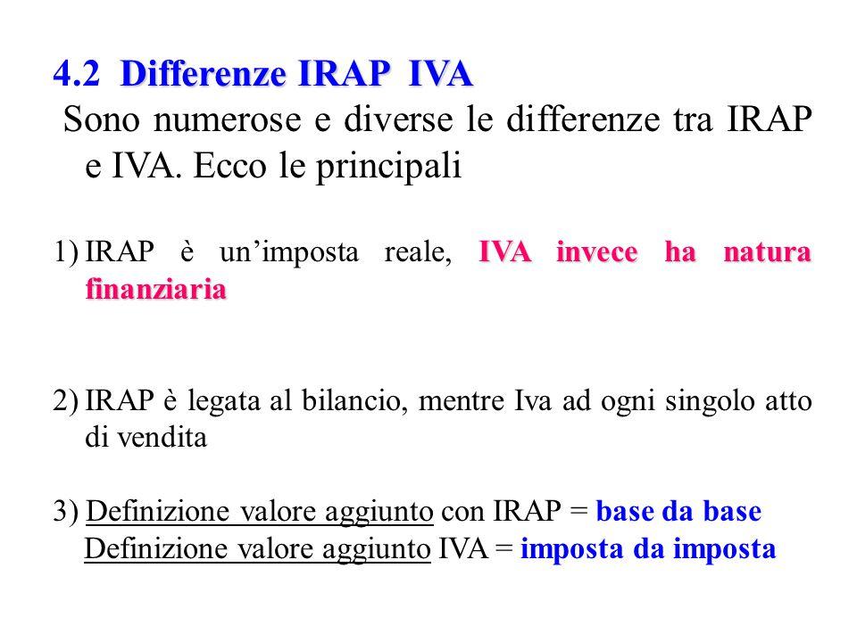 Differenze IRAP IVA 4.2 Differenze IRAP IVA Sono numerose e diverse le differenze tra IRAP e IVA. Ecco le principali IVA invece ha natura finanziaria