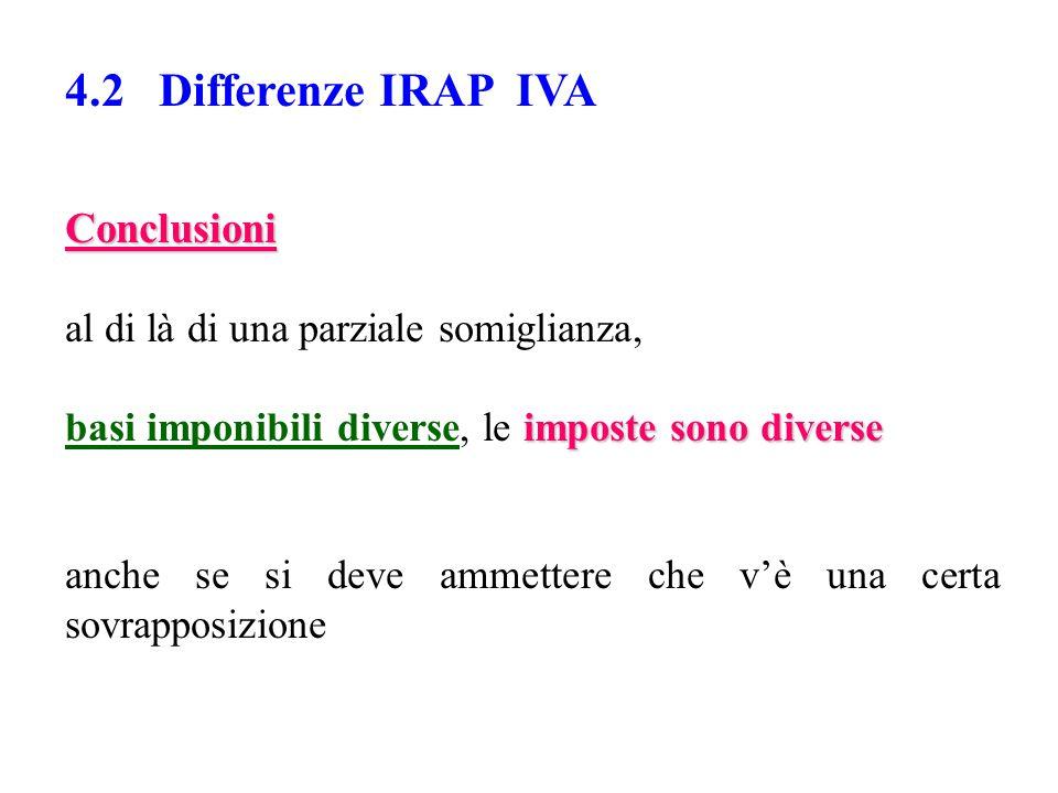 4.2 Differenze IRAP IVA Conclusioni al di là di una parziale somiglianza, imposte sono diverse basi imponibili diverse, le imposte sono diverse anche se si deve ammettere che v'è una certa sovrapposizione