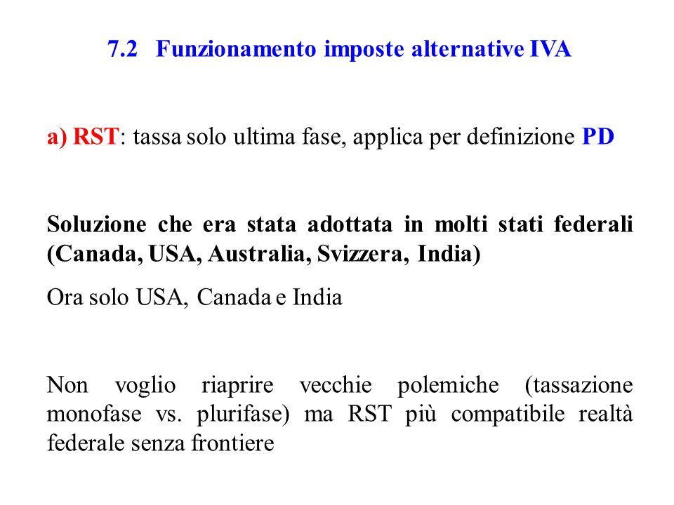 7.2 Funzionamento imposte alternative IVA a) RST: tassa solo ultima fase, applica per definizione PD Soluzione che era stata adottata in molti stati federali (Canada, USA, Australia, Svizzera, India) Ora solo USA, Canada e India Non voglio riaprire vecchie polemiche (tassazione monofase vs.
