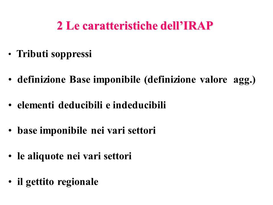 2 Le caratteristiche dell'IRAP Tributi soppressi definizione Base imponibile (definizione valore agg.) elementi deducibili e indeducibili base imponibile nei vari settori le aliquote nei vari settori il gettito regionale
