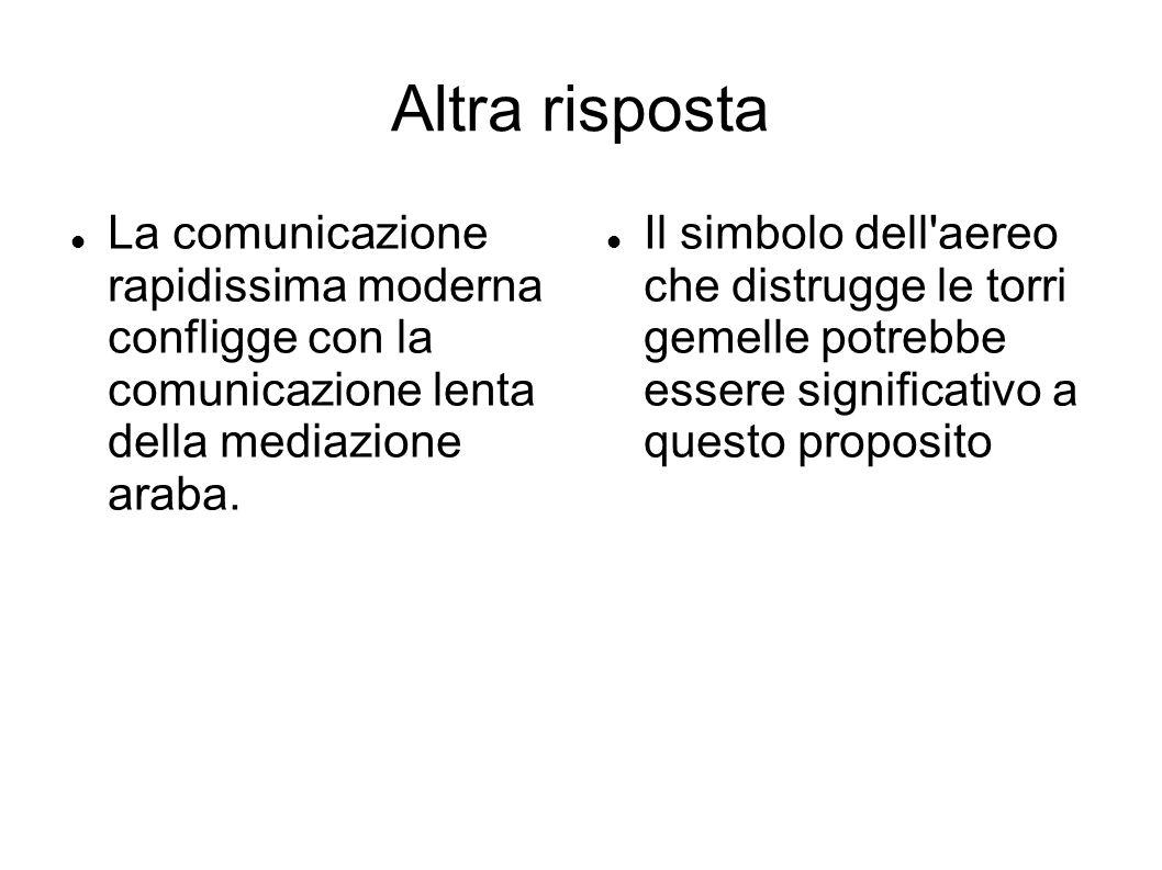Altra risposta La comunicazione rapidissima moderna confligge con la comunicazione lenta della mediazione araba.