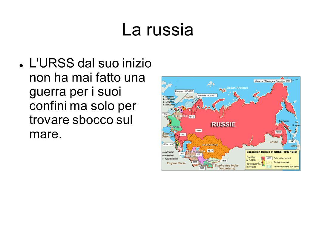 La russia L'URSS dal suo inizio non ha mai fatto una guerra per i suoi confini ma solo per trovare sbocco sul mare.
