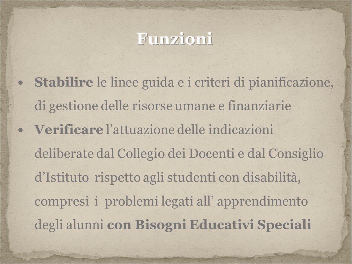 Stabilire le linee guida e i criteri di pianificazione, di gestione delle risorse umane e finanziarie Verificare l'attuazione delle indicazioni deliberate dal Collegio dei Docenti e dal Consiglio d'Istituto rispetto agli studenti con disabilità, compresi i problemi legati all' apprendimento degli alunni con Bisogni Educativi Speciali