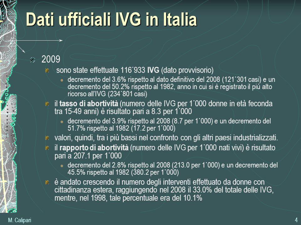 M. Calipari 4 Dati ufficiali IVG in Italia 2009 sono state effettuate 116˙933 IVG (dato provvisorio) decremento del 3.6% rispetto al dato definitivo d