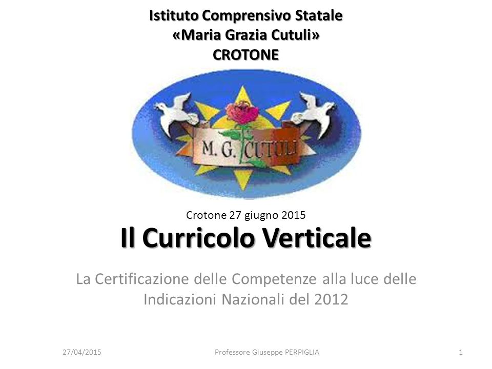 27/04/2015Professore Giuseppe PERPIGLIA52 Autoaggiornamento Dalle Indicazioni nazionali «Le Indicazioni costituiscono il quadro di riferimento per la progettazione curricolare affidata alle scuole.