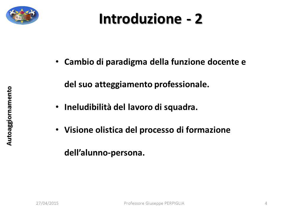 27/04/2015Professore Giuseppe PERPIGLIA15 Autoaggiornamento Momento alto in cui si esplica la professionalità docente.