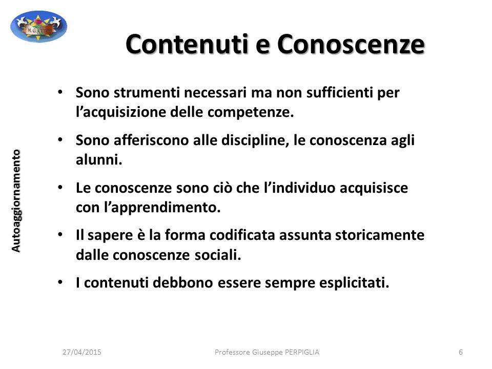 La Valutazione 27/04/2015Professore Giuseppe PERPIGLIA117 Autoaggiornamento Il senso profondo della valutazione è quello di attribuire valore a qualche cosa o riconoscere il valore di qualche cosa.