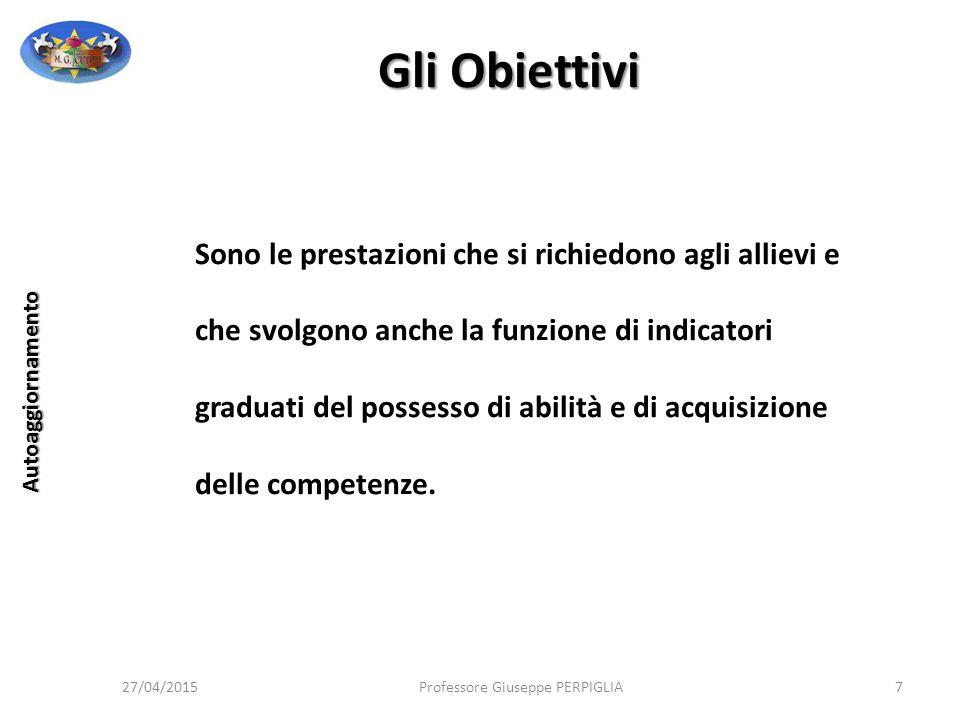 Unità di Apprendimento 27/04/2015Professore Giuseppe PERPIGLIA98 Autoaggiornamento Struttura – Verifica, Valutazione e Monitoraggio La dimensione della valutazione accompagna, in forme diverse, tutto il processo didattico.