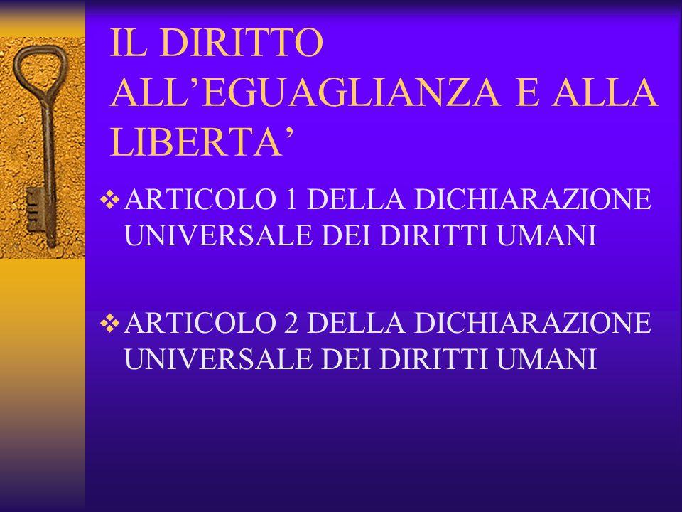 IL DIRITTO ALL'EGUAGLIANZA E ALLA LIBERTA'  ARTICOLO 1 DELLA DICHIARAZIONE UNIVERSALE DEI DIRITTI UMANI  ARTICOLO 2 DELLA DICHIARAZIONE UNIVERSALE DEI DIRITTI UMANI