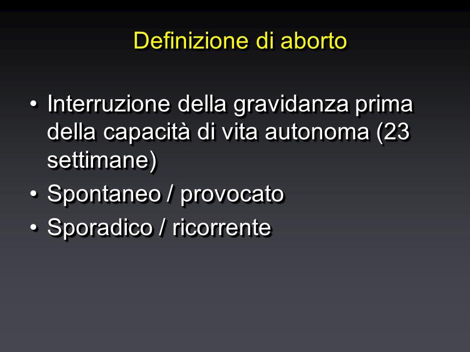 Eziologia dell'aborto spontaneo Anomalie congeniteAnomalie congenite Altre causeAltre cause Malattie materneMalattie materne Malformazioni uterineMalformazioni uterine Deficit di fase lutealeDeficit di fase luteale InfezioniInfezioni Malattie immunitarieMalattie immunitarie Tossici e teratogeniTossici e teratogeni Anomalie congeniteAnomalie congenite Altre causeAltre cause Malattie materneMalattie materne Malformazioni uterineMalformazioni uterine Deficit di fase lutealeDeficit di fase luteale InfezioniInfezioni Malattie immunitarieMalattie immunitarie Tossici e teratogeniTossici e teratogeni