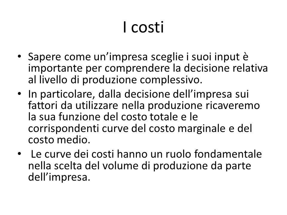 I costi Sapere come un'impresa sceglie i suoi input è importante per comprendere la decisione relativa al livello di produzione complessivo.
