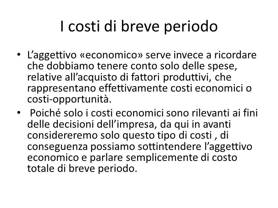 I costi di breve periodo L'aggettivo «economico» serve invece a ricordare che dobbiamo tenere conto solo delle spese, relative all'acquisto di fattori produttivi, che rappresentano effettivamente costi economici o costi-opportunità.