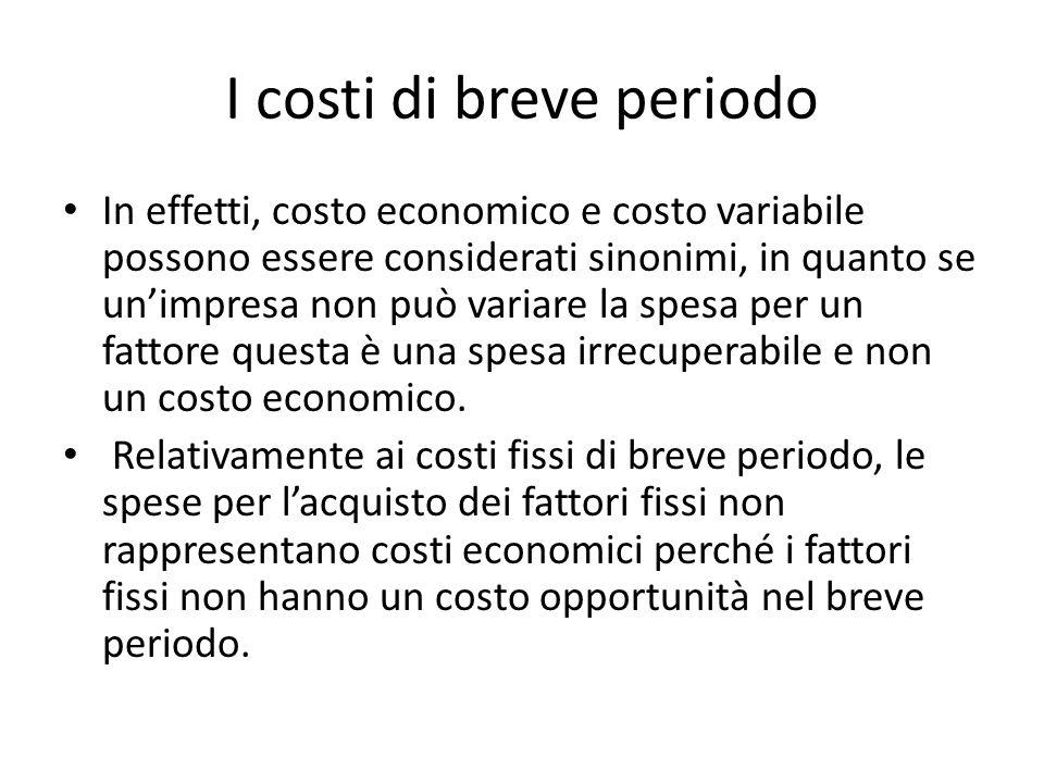 I costi di breve periodo In effetti, costo economico e costo variabile possono essere considerati sinonimi, in quanto se un'impresa non può variare la spesa per un fattore questa è una spesa irrecuperabile e non un costo economico.