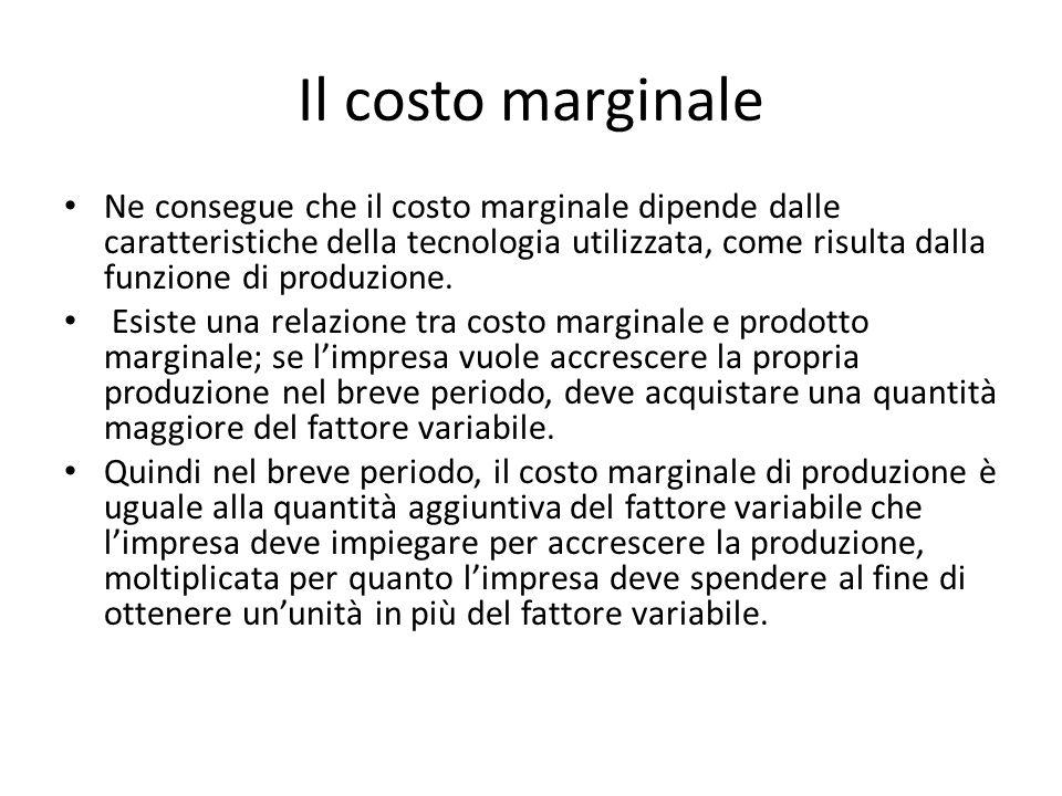 Il costo marginale Ne consegue che il costo marginale dipende dalle caratteristiche della tecnologia utilizzata, come risulta dalla funzione di produzione.