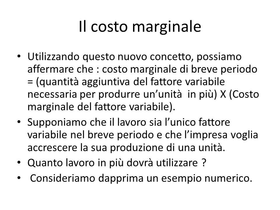 Il costo marginale Utilizzando questo nuovo concetto, possiamo affermare che : costo marginale di breve periodo = (quantità aggiuntiva del fattore variabile necessaria per produrre un'unità in più) X (Costo marginale del fattore variabile).