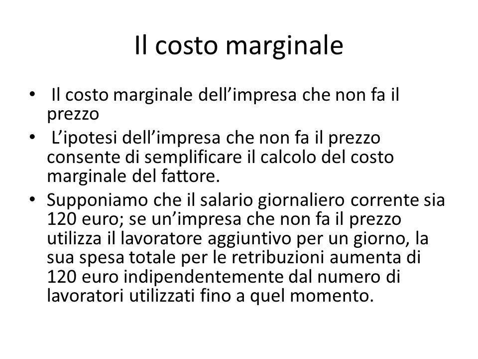 Il costo marginale Il costo marginale dell'impresa che non fa il prezzo L'ipotesi dell'impresa che non fa il prezzo consente di semplificare il calcolo del costo marginale del fattore.