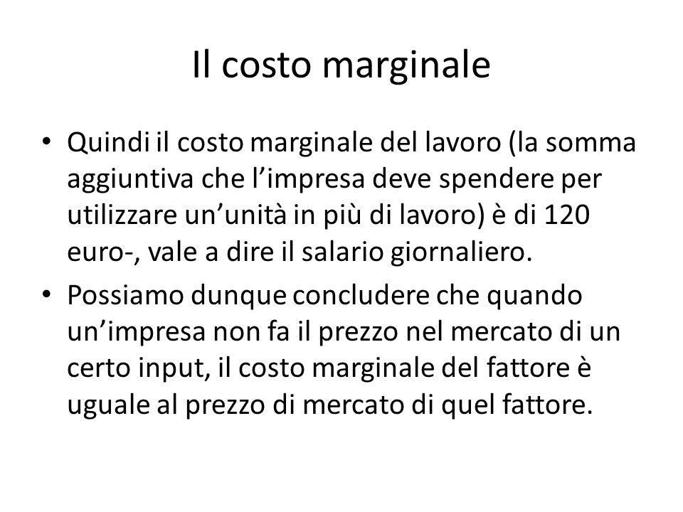 Il costo marginale Quindi il costo marginale del lavoro (la somma aggiuntiva che l'impresa deve spendere per utilizzare un'unità in più di lavoro) è di 120 euro-, vale a dire il salario giornaliero.