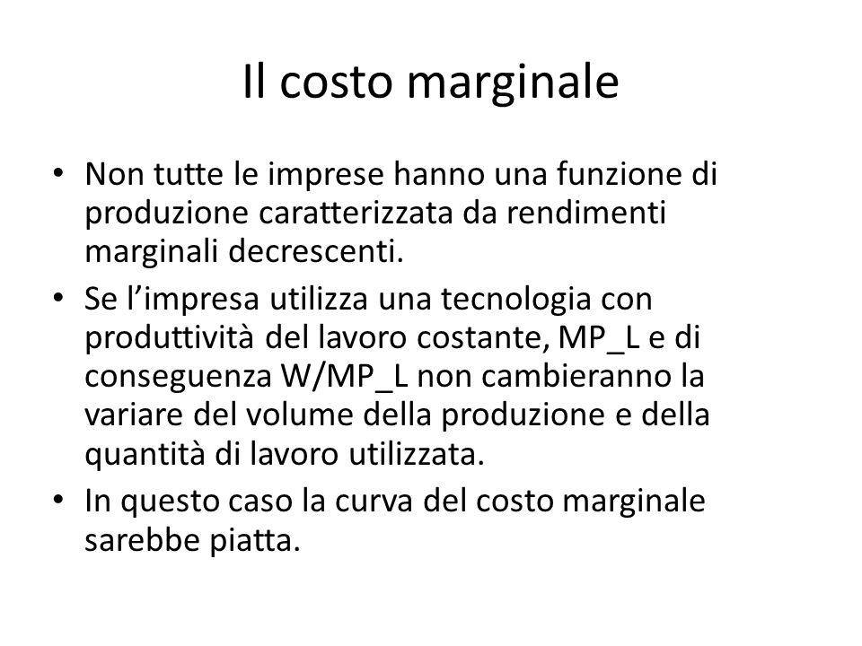 Il costo marginale Non tutte le imprese hanno una funzione di produzione caratterizzata da rendimenti marginali decrescenti.