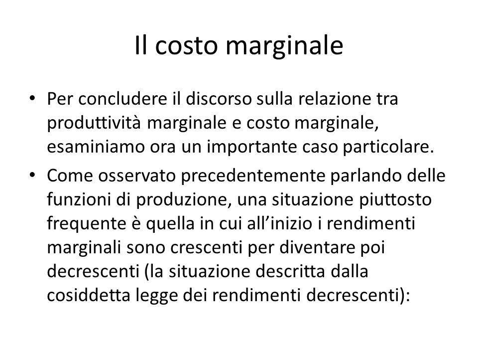 Il costo marginale Per concludere il discorso sulla relazione tra produttività marginale e costo marginale, esaminiamo ora un importante caso particolare.