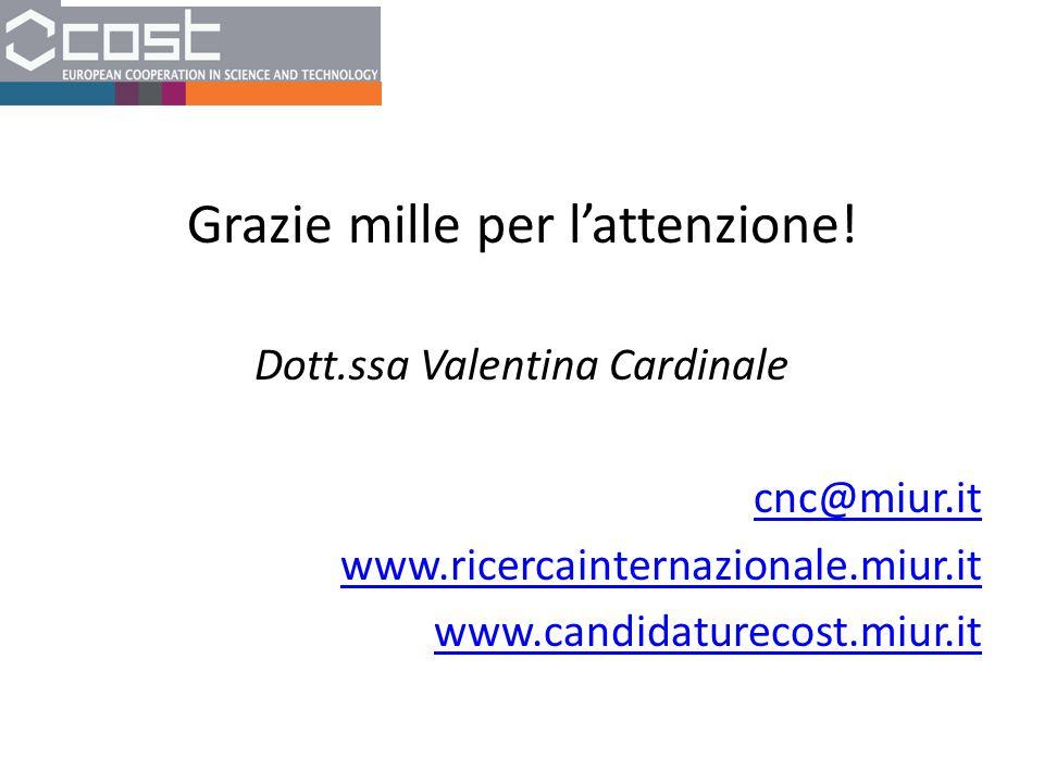 Grazie mille per l'attenzione! Dott.ssa Valentina Cardinale cnc@miur.it www.ricercainternazionale.miur.it www.candidaturecost.miur.it