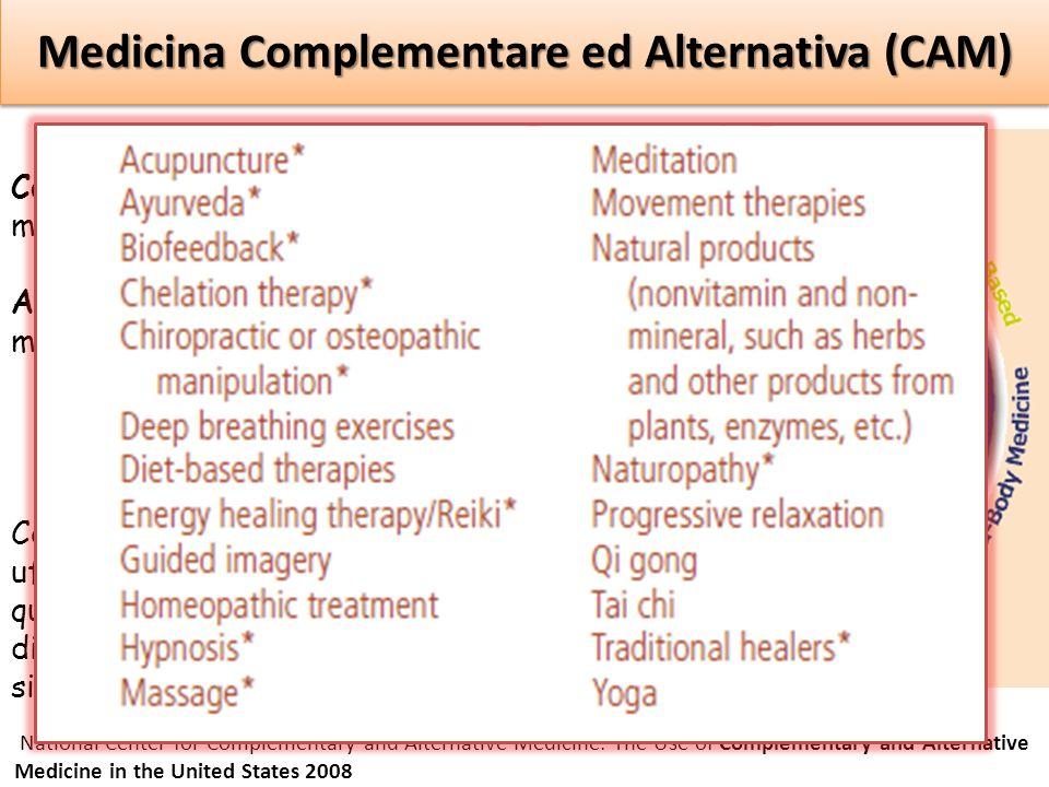 Medicina Complementare ed Alternativa (CAM) Complementare: insieme alla medicina convenzionale. Alternativa: al posto della medicina convenzionale. Me