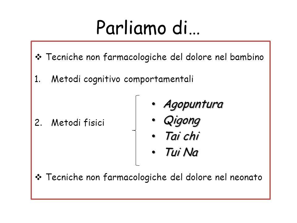 Parliamo di…  Tecniche non farmacologiche del dolore nel bambino 1.Metodi cognitivo comportamentali 2.Metodi fisici  Tecniche non farmacologiche del