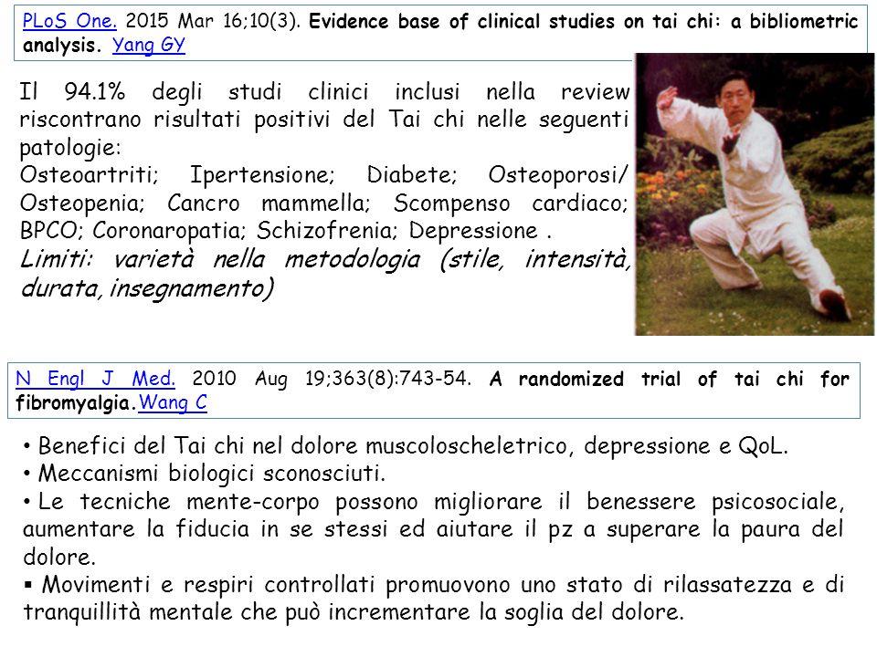 N Engl J Med.N Engl J Med. 2010 Aug 19;363(8):743-54. A randomized trial of tai chi for fibromyalgia.Wang CWang C PLoS One.PLoS One. 2015 Mar 16;10(3)