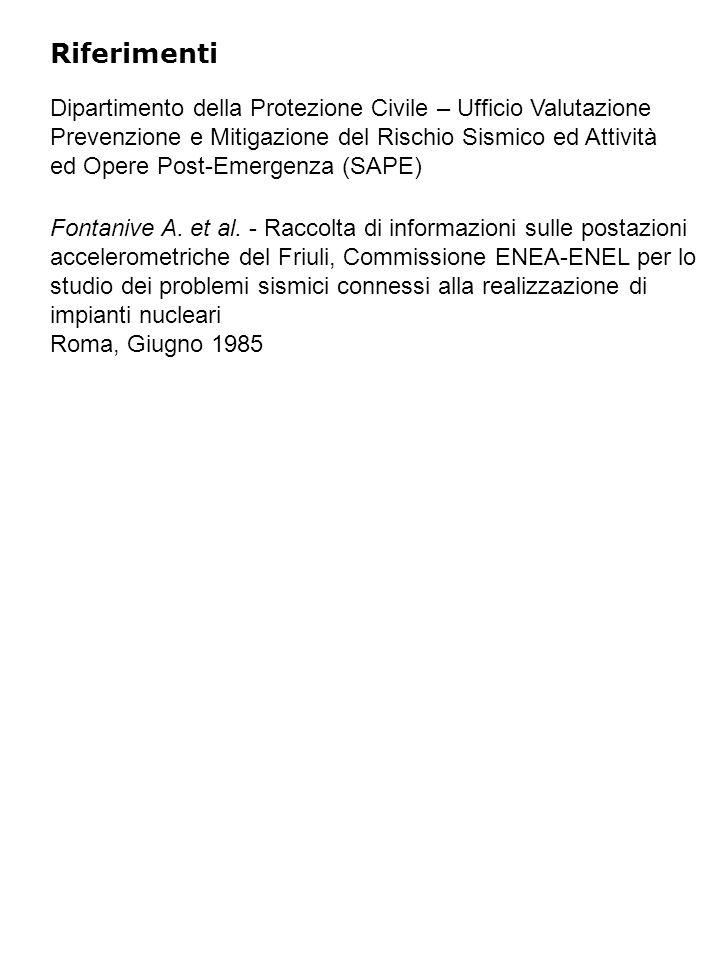 Riferimenti Dipartimento della Protezione Civile – Ufficio Valutazione Prevenzione e Mitigazione del Rischio Sismico ed Attività ed Opere Post-Emergenza (SAPE) Fontanive A.