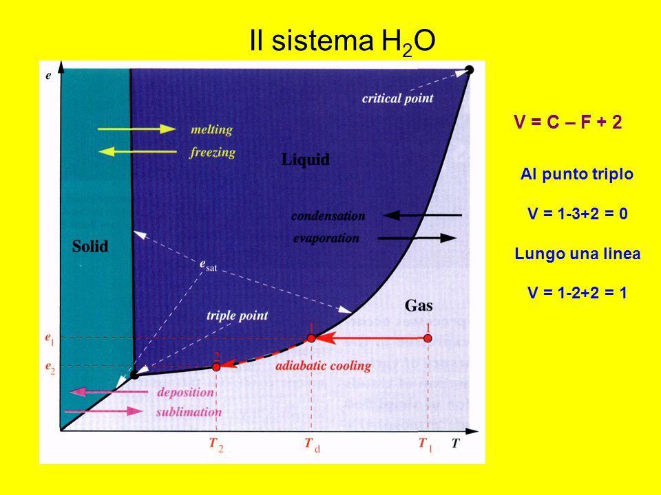 Il sistema H 2 O V = C – F + 2 Al punto triplo V = 1-3+2 = 0 Lungo una linea V = 1-2+2 = 1