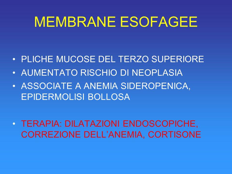 MEMBRANE ESOFAGEE PLICHE MUCOSE DEL TERZO SUPERIORE AUMENTATO RISCHIO DI NEOPLASIA ASSOCIATE A ANEMIA SIDEROPENICA, EPIDERMOLISI BOLLOSA TERAPIA: DILATAZIONI ENDOSCOPICHE, CORREZIONE DELL'ANEMIA, CORTISONE