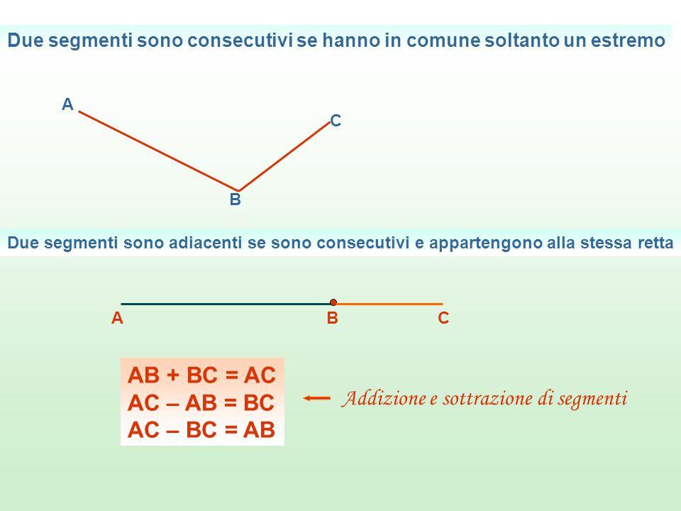 Due segmenti sono consecutivi se hanno in comune soltanto un estremo A B C Due segmenti sono adiacenti se sono consecutivi e appartengono alla stessa