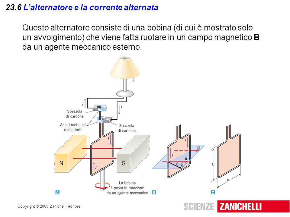 Copyright © 2009 Zanichelli editore 23.6 L'alternatore e la corrente alternata Questo alternatore consiste di una bobina (di cui è mostrato solo un av