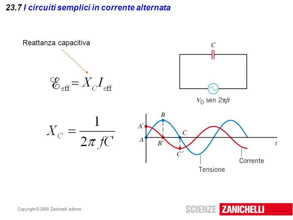 Copyright © 2009 Zanichelli editore 23.7 I circuiti semplici in corrente alternata Reattanza capacitiva