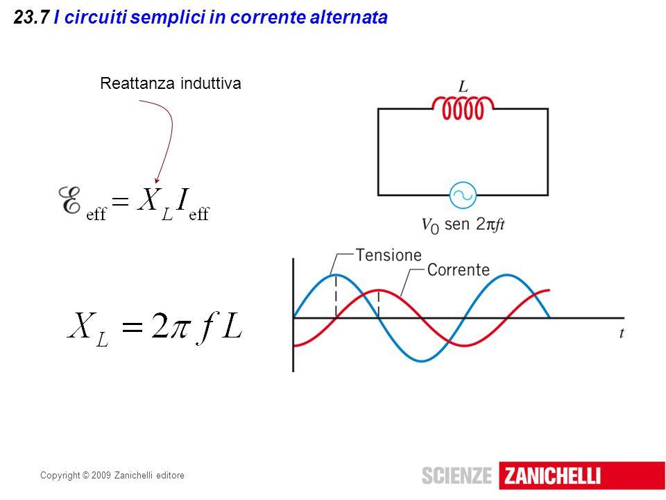 Copyright © 2009 Zanichelli editore 23.7 I circuiti semplici in corrente alternata Reattanza induttiva