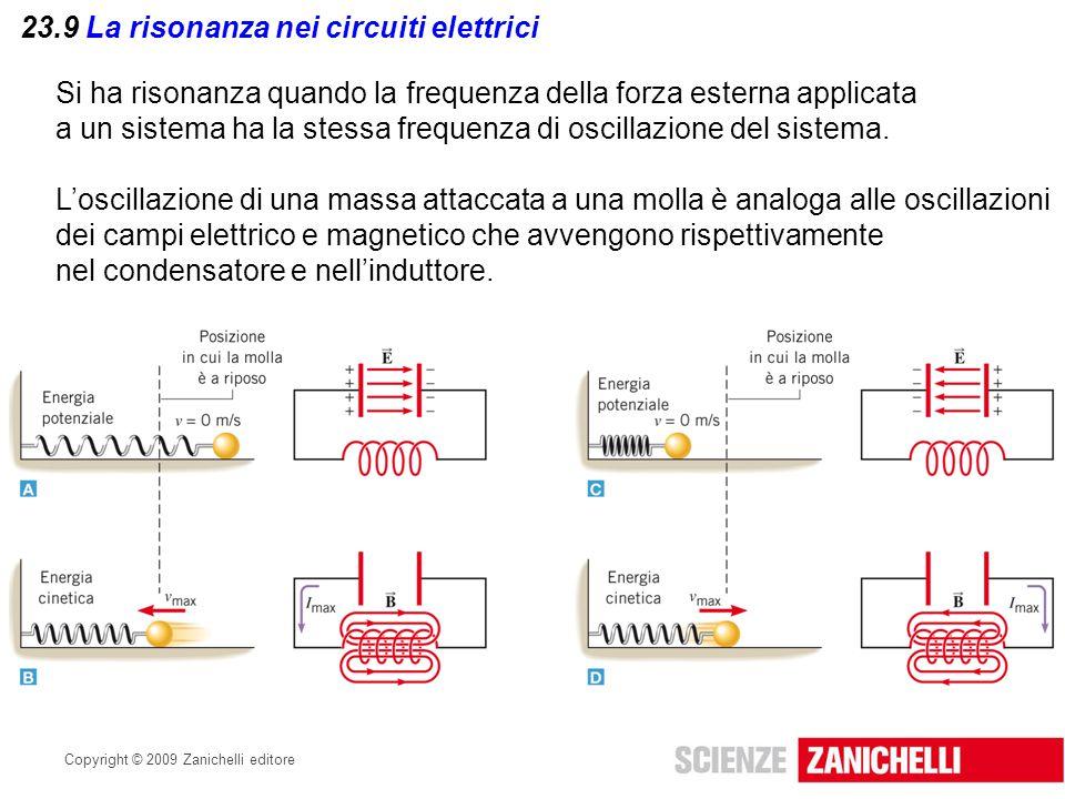 Copyright © 2009 Zanichelli editore 23.9 La risonanza nei circuiti elettrici Si ha risonanza quando la frequenza della forza esterna applicata a un si