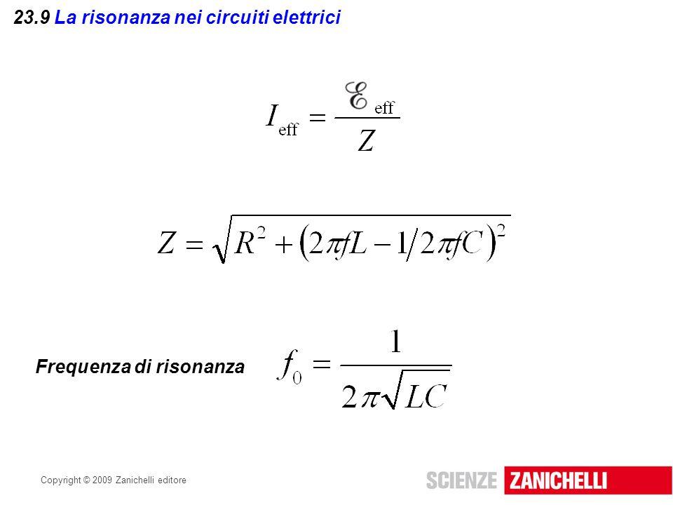 Copyright © 2009 Zanichelli editore 23.9 La risonanza nei circuiti elettrici Frequenza di risonanza