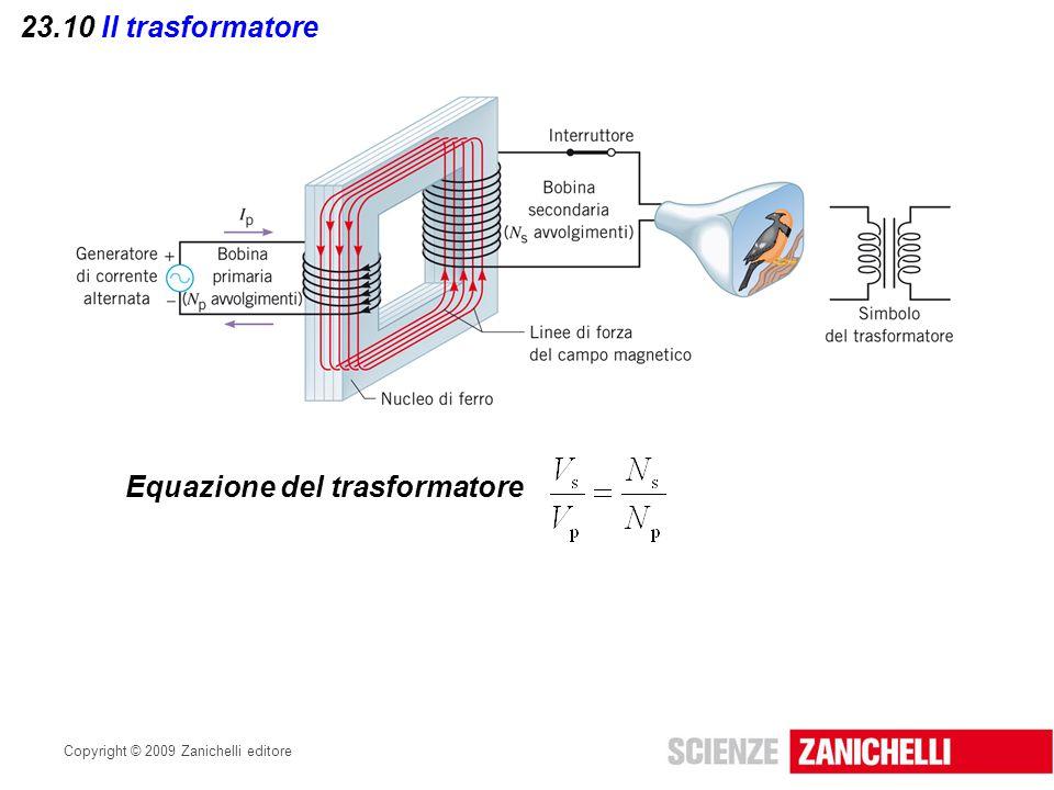 Copyright © 2009 Zanichelli editore 23.10 Il trasformatore Equazione del trasformatore