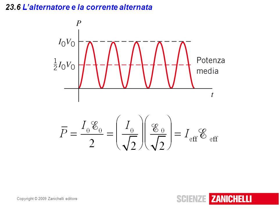 Copyright © 2009 Zanichelli editore 23.7 I circuiti semplici in corrente alternata Nei circuiti che contengono solo resistori, la resistenza R ha lo stesso valore per ogni frequenza della corrente alternata.