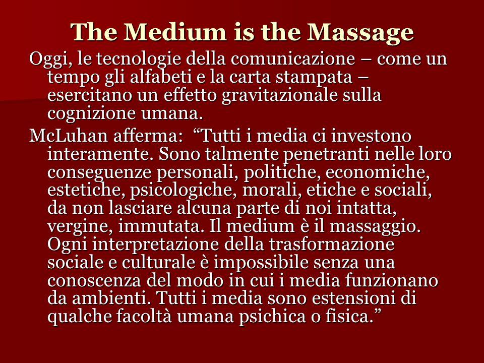 The Medium is the Massage Oggi, le tecnologie della comunicazione – come un tempo gli alfabeti e la carta stampata – esercitano un effetto gravitazion