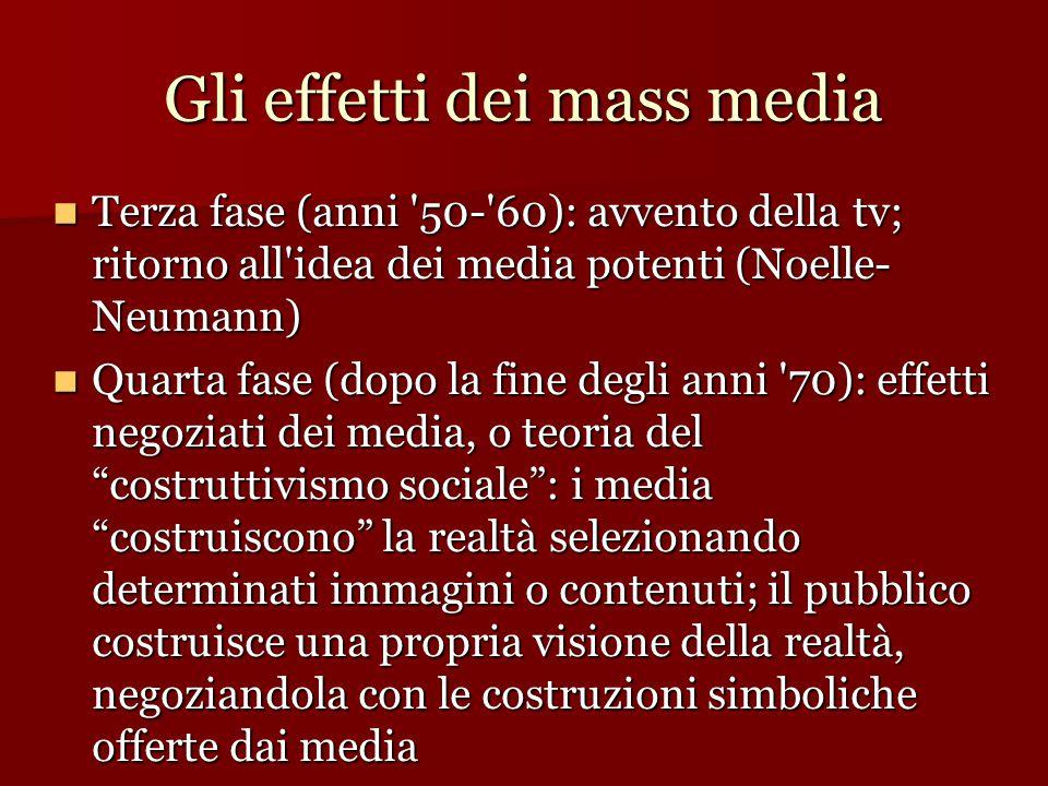 Gli effetti dei mass media Terza fase (anni '50-'60): avvento della tv; ritorno all'idea dei media potenti (Noelle- Neumann)  Terza fase (anni '50-'6