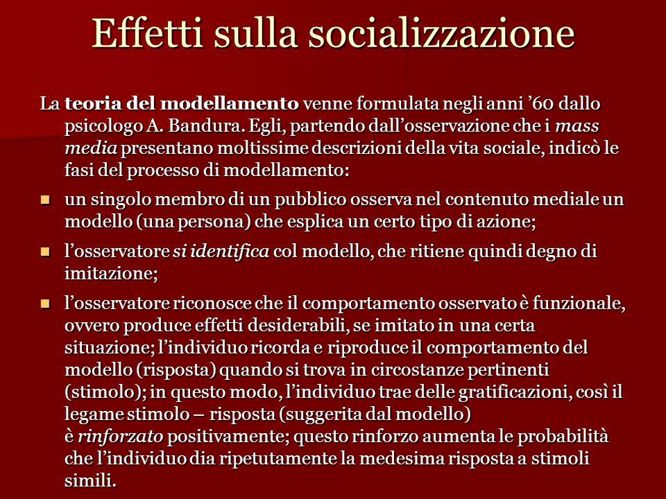 Effetti sulla socializzazione La teoria del modellamento venne formulata negli anni '60 dallo psicologo A. Bandura. Egli, partendo dall'osservazione c