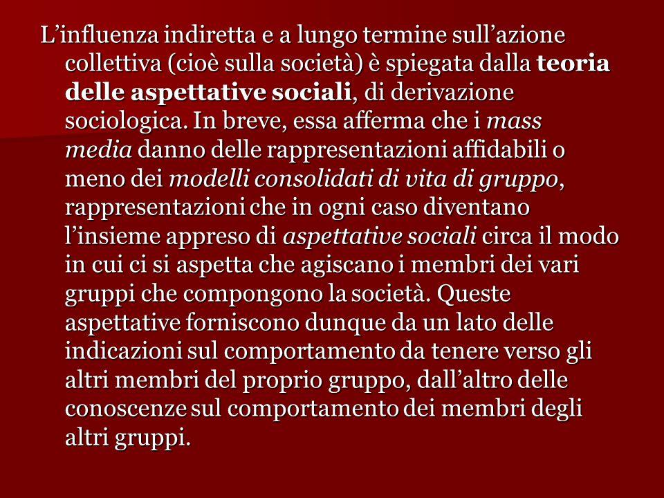 L'influenza indiretta e a lungo termine sull'azione collettiva (cioè sulla società) è spiegata dalla teoria delle aspettative sociali, di derivazione
