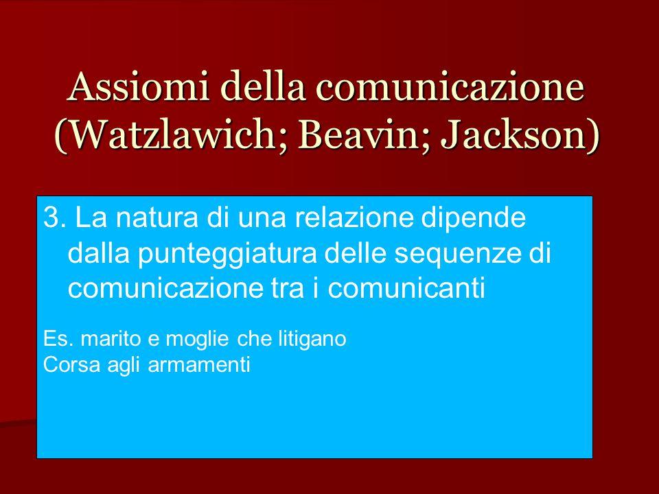 Assiomi della comunicazione (Watzlawich; Beavin; Jackson) 3. La natura di una relazione dipende dalla punteggiatura delle sequenze di comunicazione tr