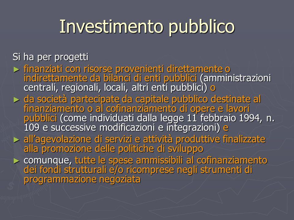 Investimento pubblico Si ha per progetti ► finanziati con risorse provenienti direttamente o indirettamente da bilanci di enti pubblici (amministrazio